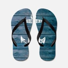 Anchor on Blue faux wood graphic Flip Flops