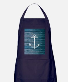 Anchor on Blue faux wood graphic Apron (dark)
