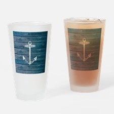 Anchor on Blue faux wood graphic Drinking Glass