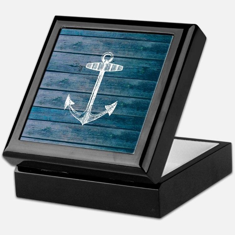 Anchor on Blue faux wood graphic Keepsake Box