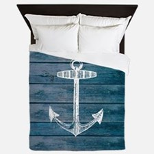 Anchor on Blue faux wood graphic Queen Duvet