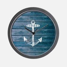 Anchor on Blue faux wood graphic Wall Clock