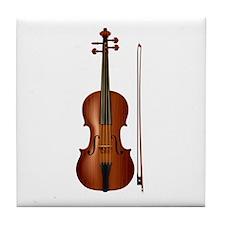 violin and bow Tile Coaster