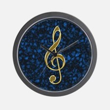 Golden Treble Clef Wall Clock