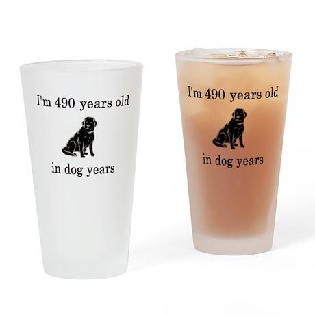 70 birthday dog years lab Drinking Glass