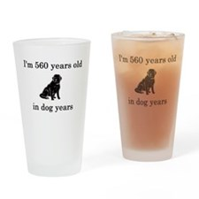 80 birthday dog years lab Drinking Glass
