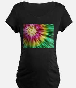 Abstract Green Tie Dye Maternity T-Shirt