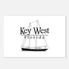 Key West Sailing Black Postcards (Package of 8)