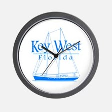 Key West Sailing Blue Wall Clock