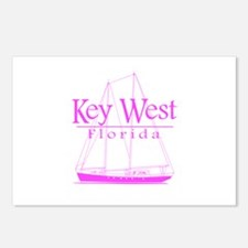 Key West Sailing Pink Postcards (Package of 8)