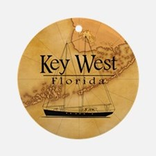 Key West Sailing Map Ornament (Round)