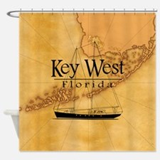 Key West Sailing Map Shower Curtain