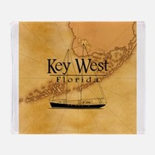 Key West Sailing Map Throw Blanket