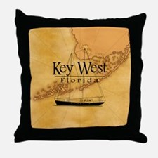 Key West Sailing Map Throw Pillow