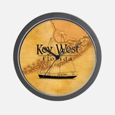 Key West Sailing Map Wall Clock