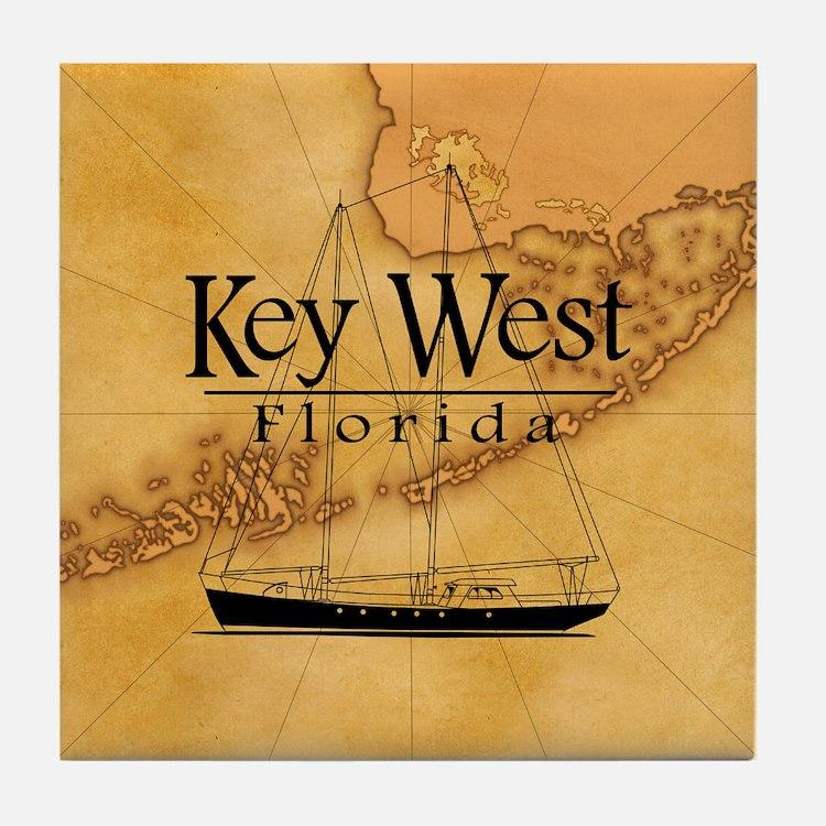 Key West Sailing Map Tile Coaster