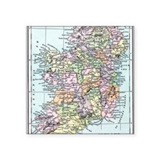 "Vintage map of Ireland Square Sticker 3"" x 3"""