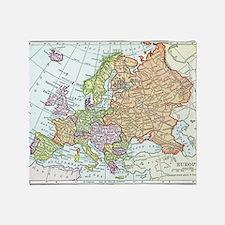 Vintage map of Europe Throw Blanket