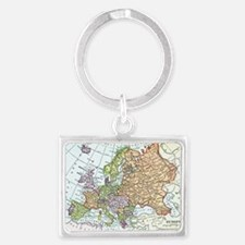 Vintage map of Europe Landscape Keychain