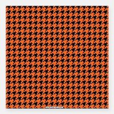 "Houndstooth Orange Square Car Magnet 3"" x 3"""
