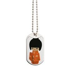 cute kawai kokeshi doll Dog Tags