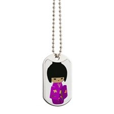 Cute kawaii pink dress kokeshi Dog Tags