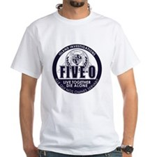 Standard white T-Shirt with 5-0 LOST mashup seal