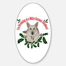 White German Shepherd Oval Decal