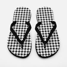 Houndstooth White Flip Flops