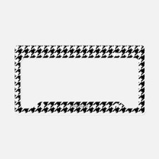 Houndstooth White License Plate Holder