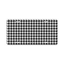Houndstooth White Aluminum License Plate
