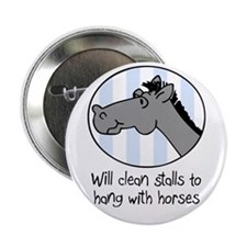 cute horse clean stalls Button