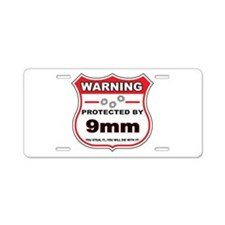 protected by 9mm shield Aluminum License Plate