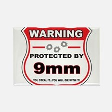 protected by 9mm shield Rectangle Magnet