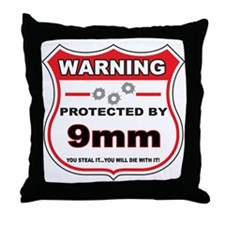 protected by 9mm shield Throw Pillow