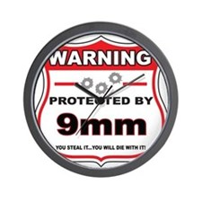 protected by 9mm shield Wall Clock