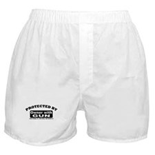 property of protected by gun owner b Boxer Shorts