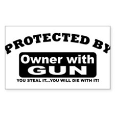property of protected by gun owner b Decal