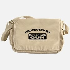 property of protected by gun owner b Messenger Bag