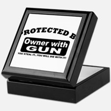 property of protected by gun owner b Keepsake Box