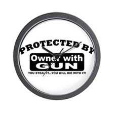 property of protected by gun owner b Wall Clock