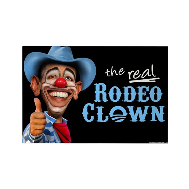 Obama Rodeo Clown Rectangle Magnet By Rightwingstuff