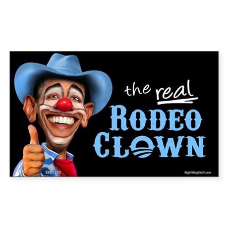 Obama Rodeo Clown Sticker (Rectangle 10 pk)