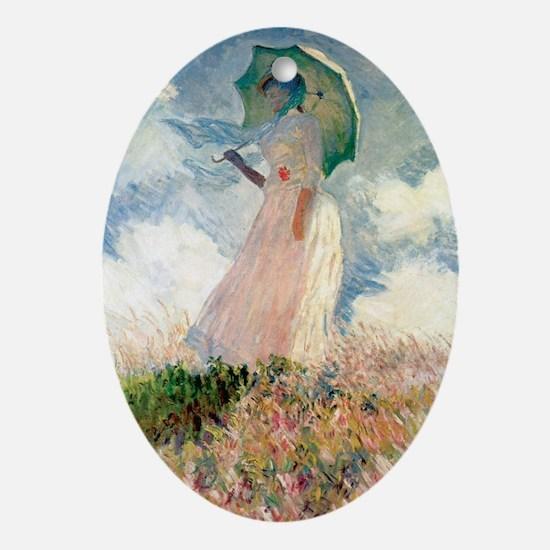 Monet study of a figure a figure out Oval Ornament