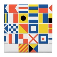 Nautical Flags Tile Coaster