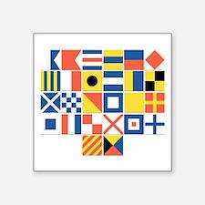 "Nautical Flags Square Sticker 3"" x 3"""