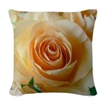 Apricot Colored Rose Woven Throw Pillow