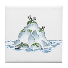 puffins on an island Tile Coaster