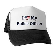 I Love My Police Officer Trucker Hat