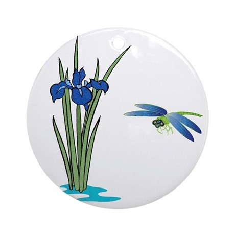 Dragonfly Iris Ornament (Round)